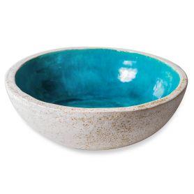 Flora - Lavabo azzurro con bordo bianco