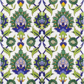 Bahira - piastrelle di ceramica con tonalità verde 20x20cm, 12 piastrelle incluse (0,5m2)
