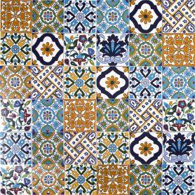 Wati - Piastrelle Decorate Miste dalla Tunisia 10 x 10 cm, 50 tessere nella scatola (0,5m2)