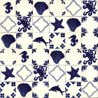 Mariscos - set di piastrelle messicane in cobalto - 30 pezzi