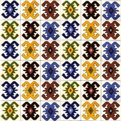 Hucul - piastrella in ceramica messicana con modello folcloristico