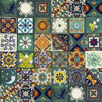 Verde - patchwork colorato da piastrelle messicane