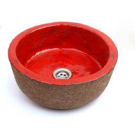 Ida - Lavabo fatto a mano in stile rosso